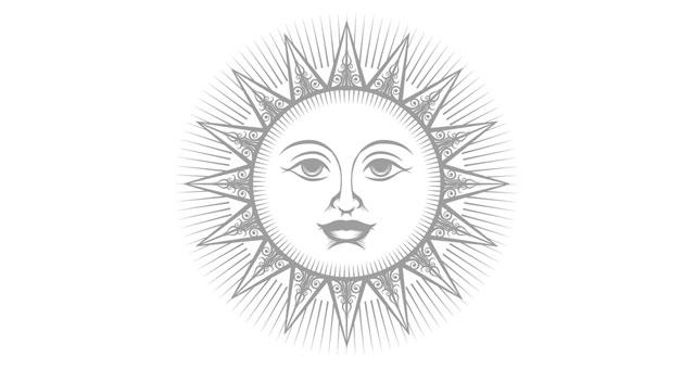 Sonnensymbol mit freundlichem Gesicht