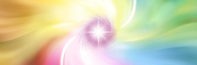 Ein Lichtwirbel aus den Regenbogenfarben