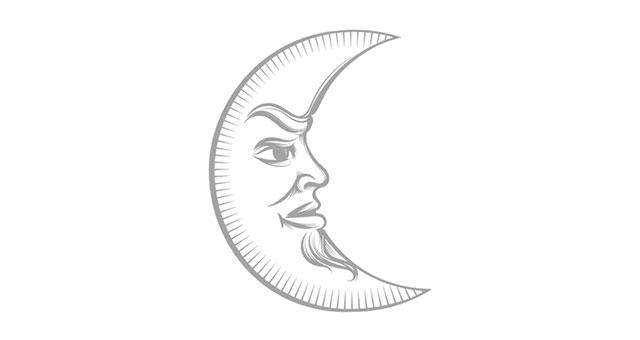 Mondsymbol mit strengem Gesicht