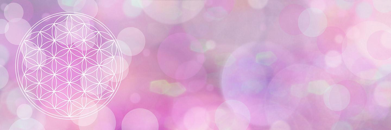 Symbol der Blume des Lebens in weiß vor einem violetten Hintergrund