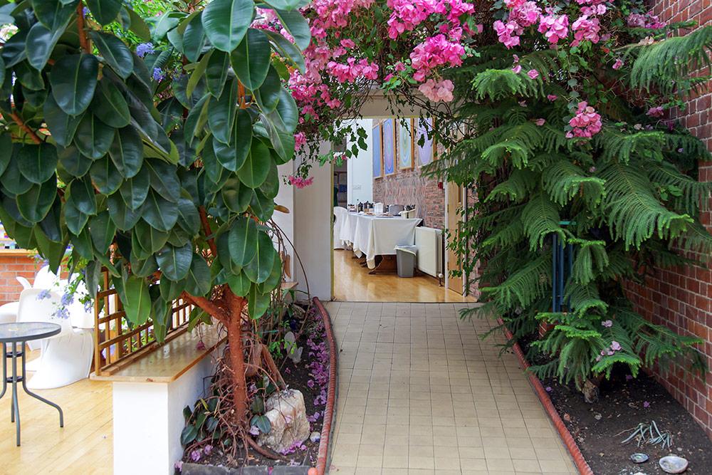 Ein Seminarraum mit üppigen Grünpflanzen