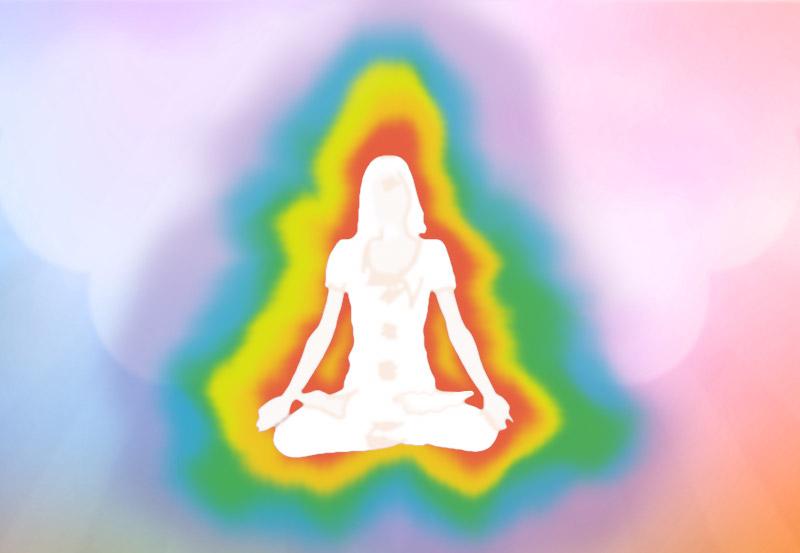 Künstlerische Darstellung einer Frau im Lotussitz umgeben von Auraschichten in Regenbogenfarben